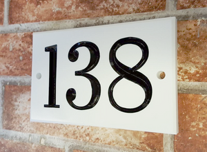 White three digit number sign 160mm x 100mm x 12mm - House Sign Shop