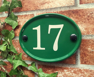 Small Classic Oval Number Sign - 150mm x 115mm - House Sign Shop