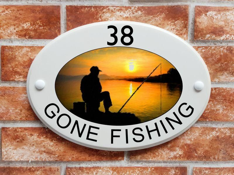 Gone fishing house sign - House Sign Shop