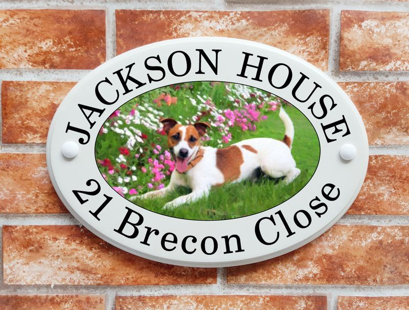 Jack Russell dog with flowers - House Sign Shop