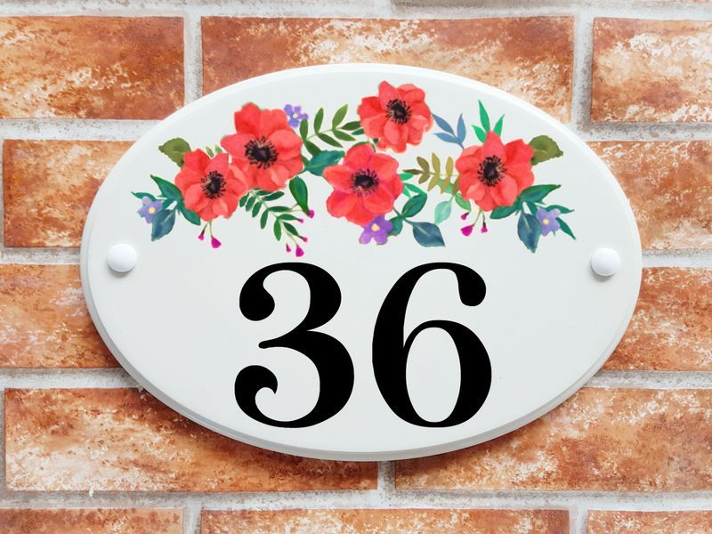 Red flowers with foliage number sign - House Sign Shop