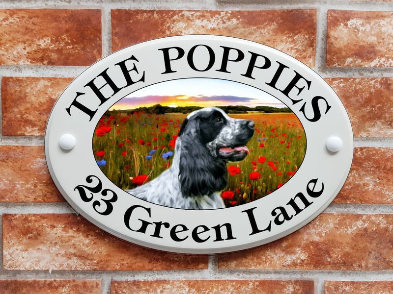 Cocker Spaniel dog with meadow flowers - House Sign Shop