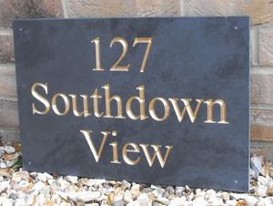 Large house sign with gold inlay in size 450mm by 300mm