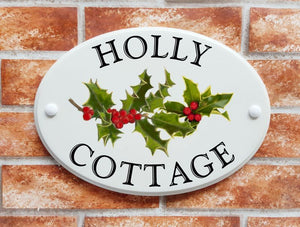 Holly with red berries house name sign