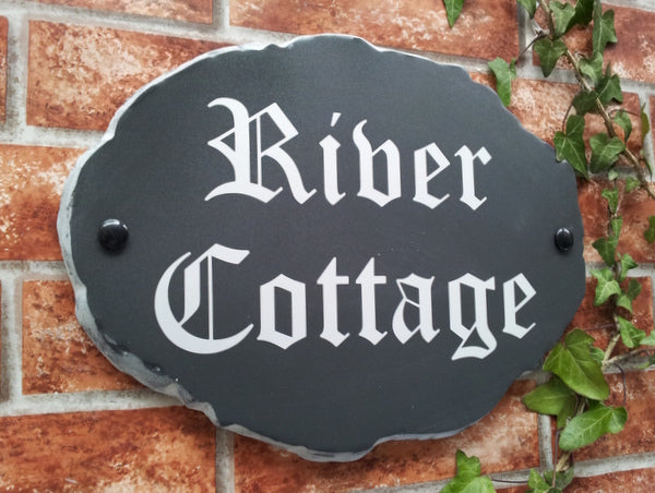 Large Rustic Slate Style Oval - 330mm x 240mm - House Sign Shop