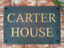 Large house name sign in solid slate with gold inlay