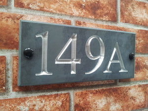 Slate house sign with a four digit number  240mm x 100mm - House Sign Shop