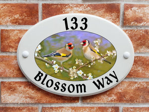 Goldfinches with blossom - House Sign Shop