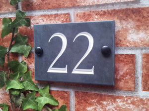 Slate house number sign  140mm x 100mm - House Sign Shop