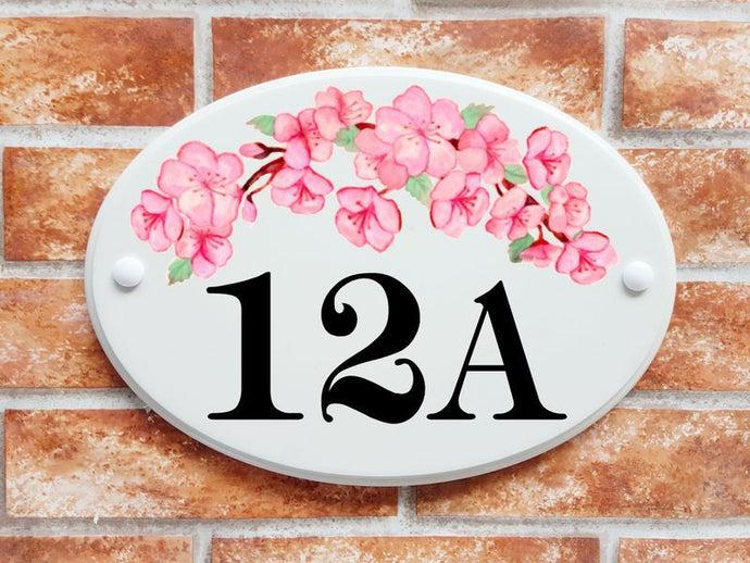Cherry blossom flowers number sign - House Sign Shop