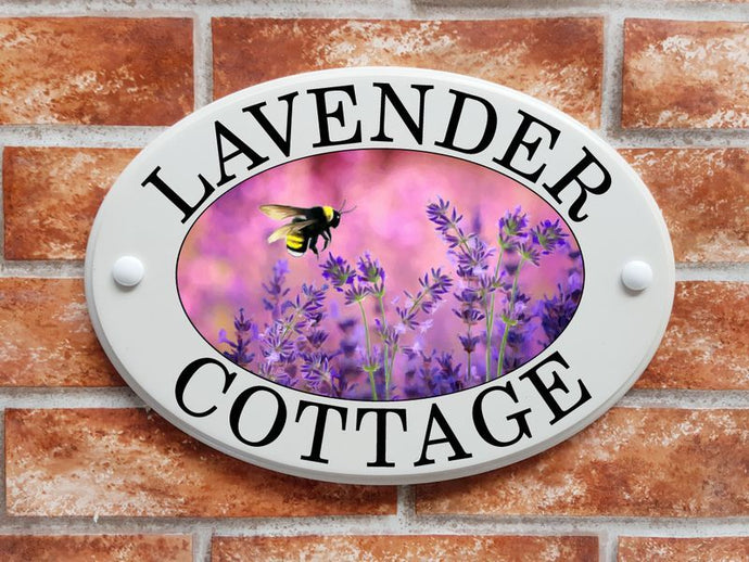 Lavender flowers with a bumblebee house sign - House Sign Shop