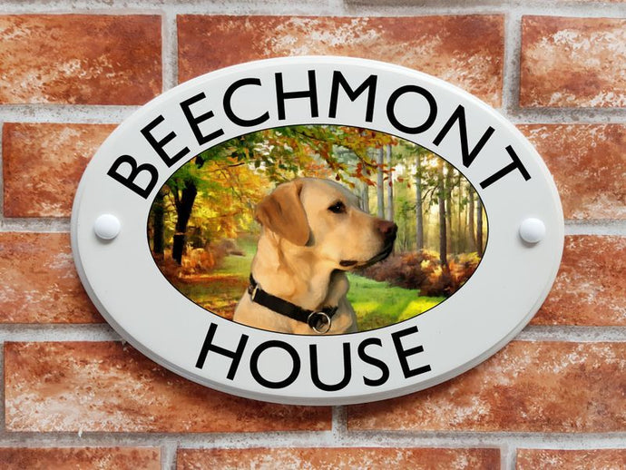 Golden Labrador dog house sign - House Sign Shop