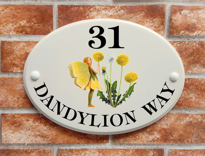 dandelion flower fairy decorative house plaque