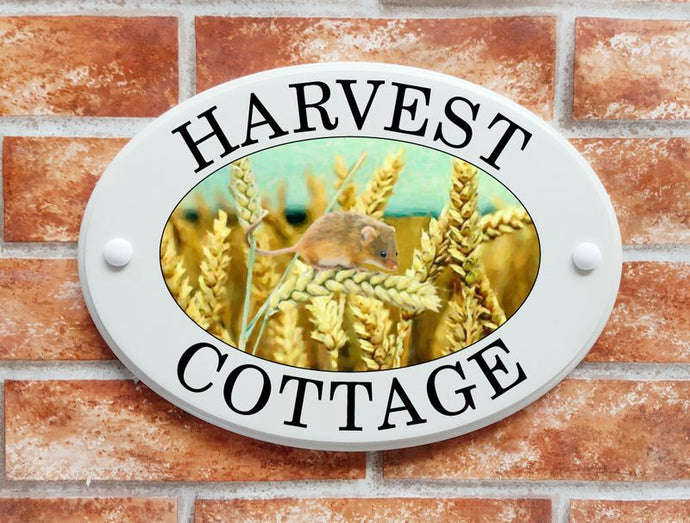 Harvest mouse and ears of wheat - House Sign Shop