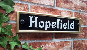Small classic rectangle house name sign - 292mm x 70mm; 11.5 inches x 2.75 inches - House Sign Shop
