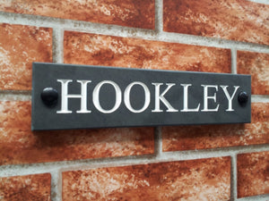 Engraved slate house name sign / address plaque  250 x 60 - House Sign Shop