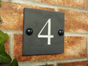 Engraved slate house number sign  100mm x 100mm - House Sign Shop