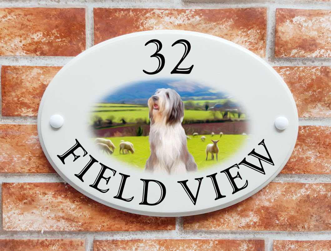Bearded Collie dog breed decorative house sign - House Sign Shop