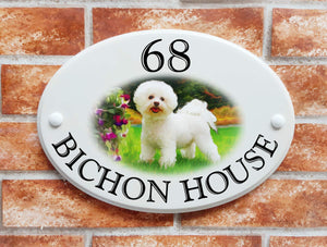 Cute Bichon Frise dog house name sign - House Sign Shop