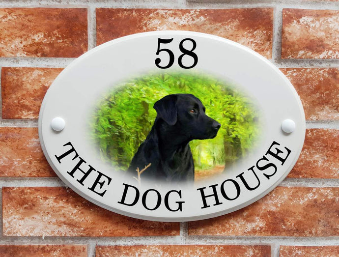 Black labrador dog sign - House Sign Shop