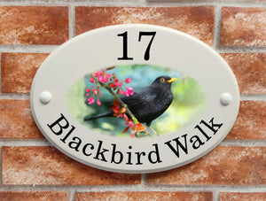 Blackbird motif house name and address sign - House Sign Shop