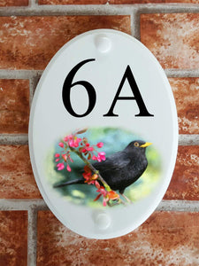 Blackbird house number plate - House Sign Shop
