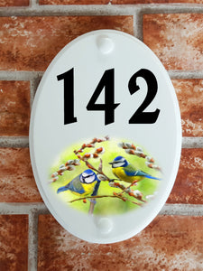Blue Tits house number sign - House Sign Shop