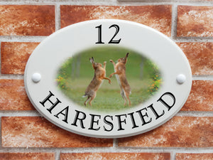Boxing Hares decorative house sign - House Sign Shop