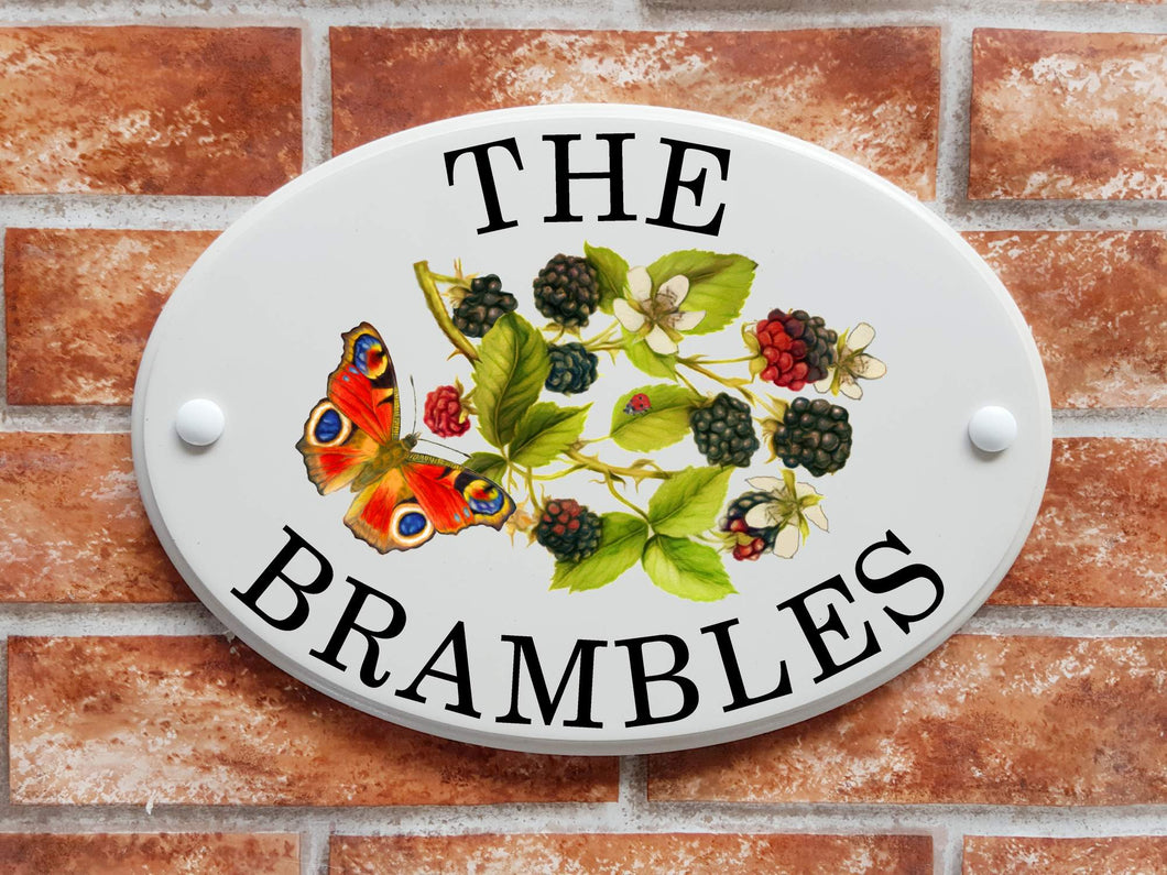 Brambles and butterfly house plaque - House Sign Shop