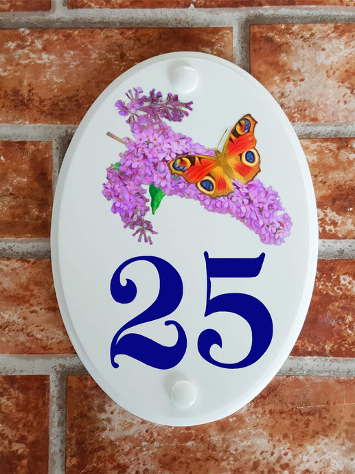 Budleia & peacock butterfly house number sign - House Sign Shop