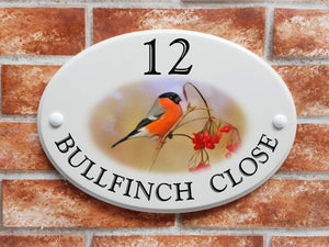 Bullfinch bird home address plaque - House Sign Shop