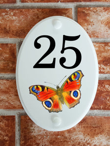 Butterfly house number plate - House Sign Shop