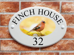 Chaffinch bird home address plaque - House Sign Shop