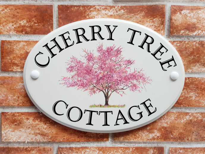 Cherry blossom tree design house sign