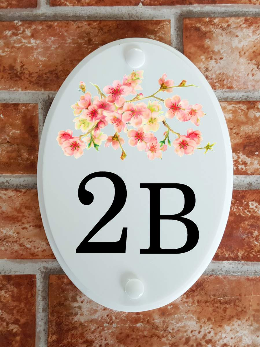 House number plaque with Cherry Blossom picture - House Sign Shop