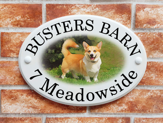 Corgi dog house name sign - House Sign Shop