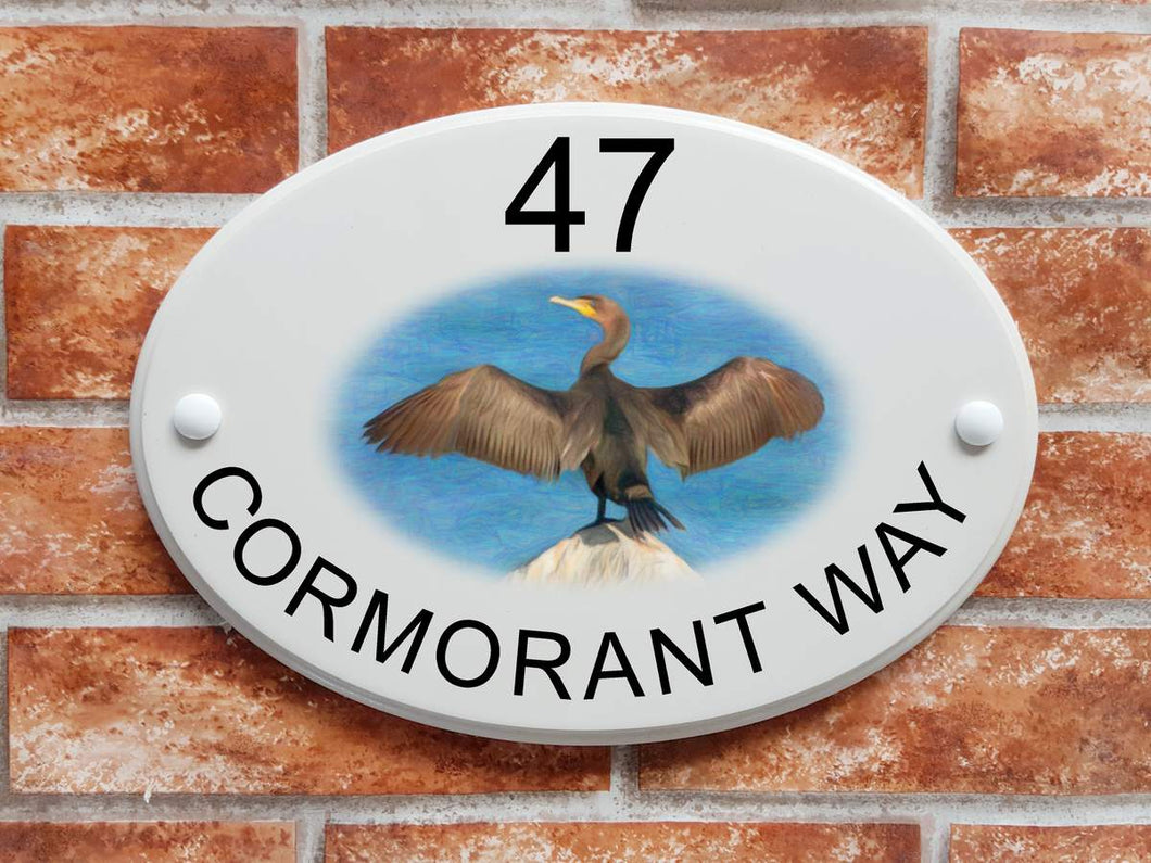 Cormorant bird home address plaque - House Sign Shop