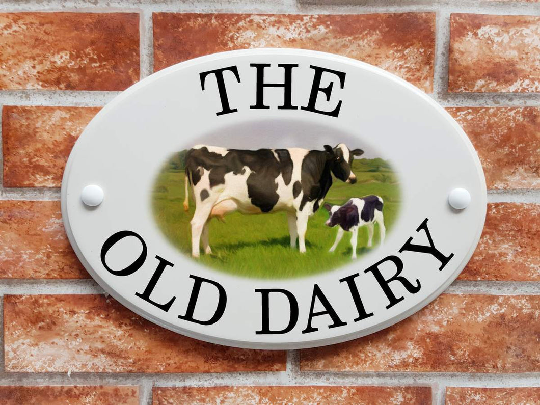 Cow & calf house address plaque - House Sign Shop