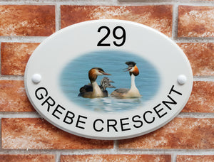 Crested Grebe bird family house plaque - House Sign Shop