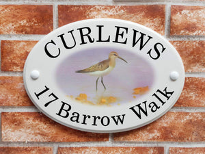 Curlew wading bird home address plaque - House Sign Shop
