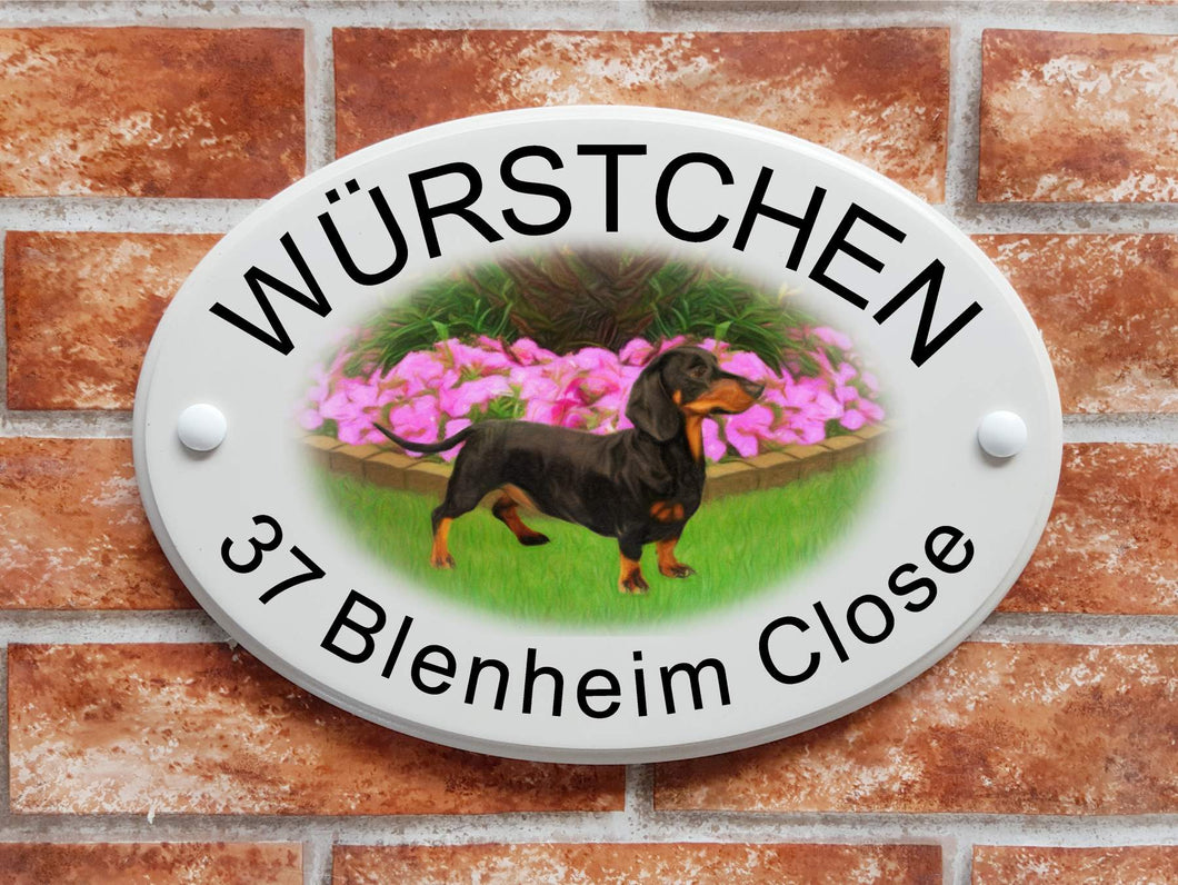 Dachshund ( sausage dog ) picture house plaque - House Sign Shop