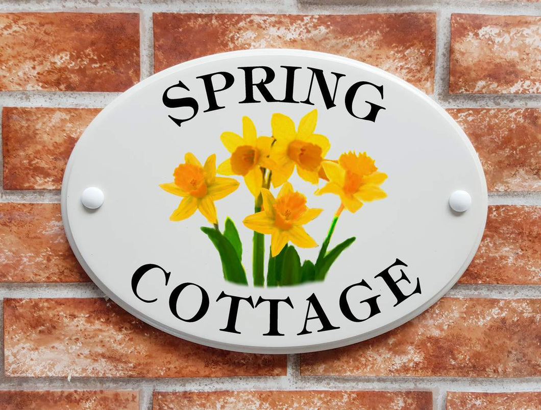 House Sign with daffodil flowers picture motif - House Sign Shop