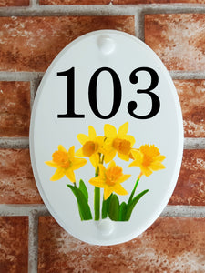 House number plate with Daffodils picture - House Sign Shop