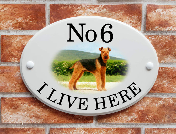 Airedale dog breed decorative house sign - House Sign Shop