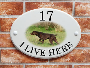 German Pointer dog breed picture house sign - House Sign Shop