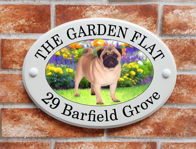 Pug dog house sign - House Sign Shop