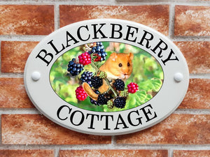 Dormouse in a bramble bush with berries - House Sign Shop