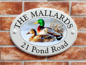 Mallard Ducks ceramic style house sign - House Sign Shop