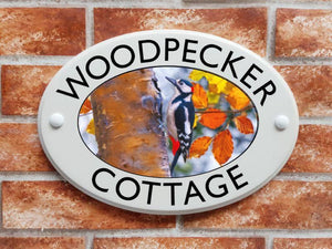 Woodpecker ceramic style house sign - House Sign Shop