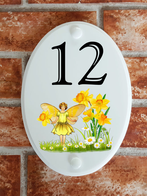 flower fairy daffodil decorative house plaque